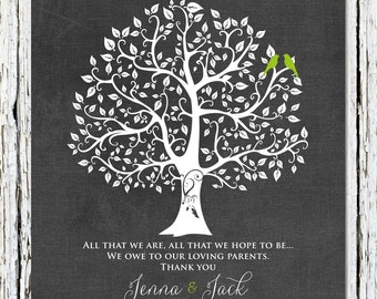 All That We Are, Wedding Tree Print, Thank You Gift for Parents, Bride's Parent Gift, Groom's Parent Gift, Wedding Day Gifts 8 x 10