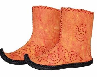 Handmade Mongolian Felt Boots in Orange, Grey, Jeansblue - European sizes 36-42
