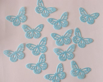 30 EDIBLE BLUE BUTTERFLY Rice / Wafer Paper Flavoured Cupcake Cake Toppers