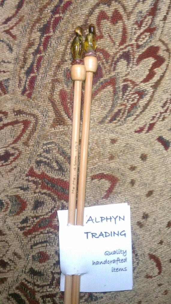 4mm Knitting Needles Us Size : Yellow/Brown Beaded Knitting Needles / US Size 7 (4.5 mm) from AlphynTrading ...