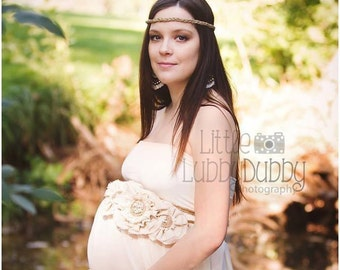 Rebecca Boho Maternity Sash • Belly Band • Decorative Belt • Belly Ribbon • Belly Sash | READY TO SHIP