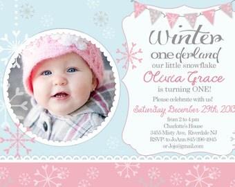 Winter OneDerland - Winter First Birthday invitation