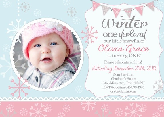 winter onederland winter first birthday invitation, Birthday invitations