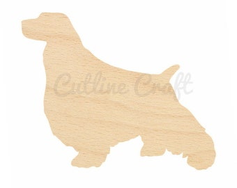English Springer Spaniel Dog Cutout Style 863 Shapes Crafts, Gift Tags Ornaments Laser Cut Birch Wood Various Sizes