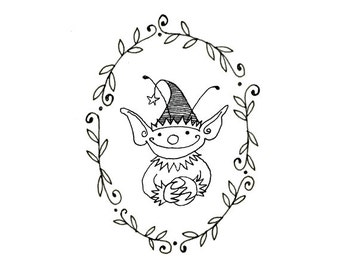 Christmas Elf Gnome Embroidery Pattern Digital Downloadable PDF Leafy Frame 0063