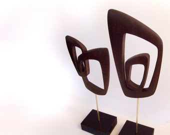 mid century modern abstract sculpture danish modern retro tiki 1960s 1950s