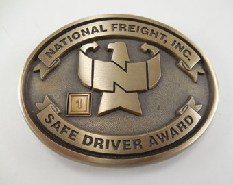 Vintage National Freight Inc Safe Driver Award Solid Brass Belt Buckle Trucker Truck Driver Belt Buckle