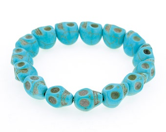 Day of the Dead Jewelry Howlite Skull Bracelet-Turquoise