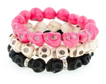 Day of the Dead Jewelry Triple Stack Bracelets-Pink/Cream/Black
