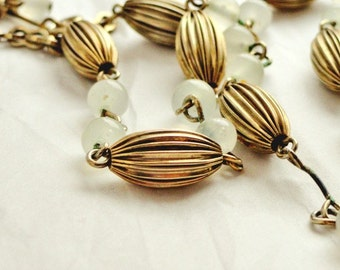 Vintage Necklace, Choker, Antiqued Brass Toned & White Frosted Beads, Costume Jewelry