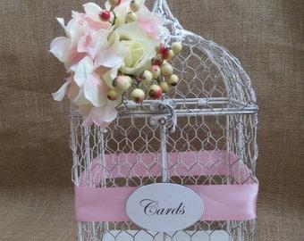 Pick Your Flowers and Ribbon - Wedding Bird Cage Card Holder, Vintage Style Wedding Birdcage, Money Holder, Card Box, Wedding wish box,