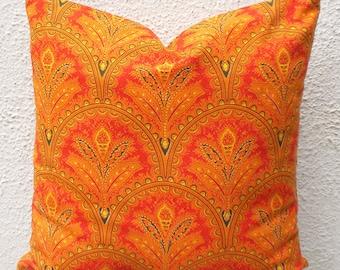 Throw Pillow, Throw Pillow Cover, Orange Throw Pillow, Floral Pillow, Indian Pillow, 18x18 Pillow- 1 pair - ct71B