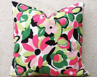 Pillow Covers 18x18 - Pink and Green Floral Print on White - 1 pair - ct84B
