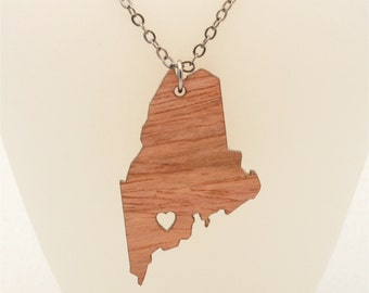 FREE SHIPPING Maine Necklace, Custom Made Laser Cut Going Away Gift,  FREE Gift Wrapping, Mother's Day Gift