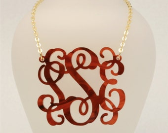 Medium 1.75 Inch Custom Tortoise Shell Vine Monogram Acrylic Necklace, Personalized Bridesmaid Gift, Personalized Jewelry