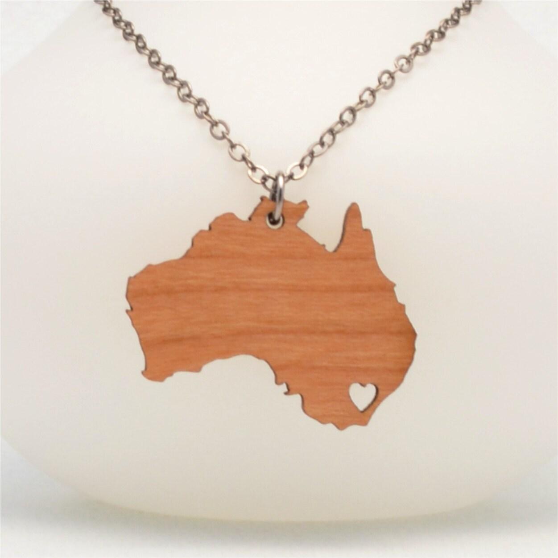wooden australia necklace custom made aussie jewelry