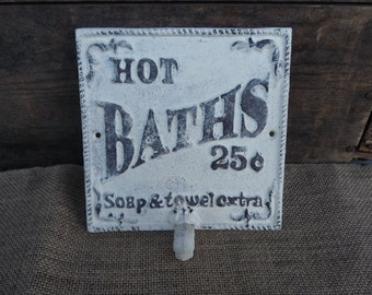 Cast Iron HOT BATHS 25 cents - Wall Hook -  Rustic Custom Yellow White Beach Blue  - Bathroom Rack - Bath Towel Hanger Laundry