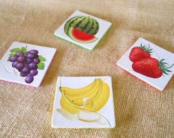 Upcycled Foam Puzzle Coasters, Mug Rug, Childs Puzzle, Fruit Coasters, Kitchen Decor, Home Decor, Table Decor