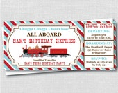 Custom Vintage Train Ticket Birthday Invitation - Red/Turquoise Train Themed Party - D