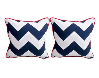 Chevron Cushions - Navy White cushions - Nautical Decor - Twin Peaks - Cushions - Pillows