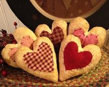 Set of Five Handmade Primitive Homespun Fabric Hearts Bowl Fillers or Ornies