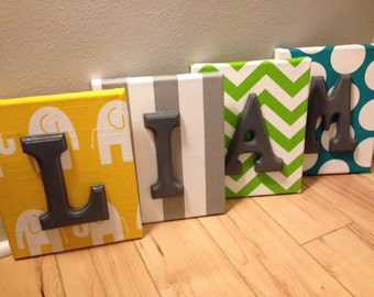 Boy Wall Canvas Letters, Nursery Letters & Decor, Personalized Name