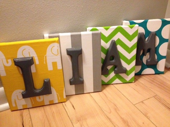 Boy Wall Canvas Letters Nursery Letters Decor Personalized Name