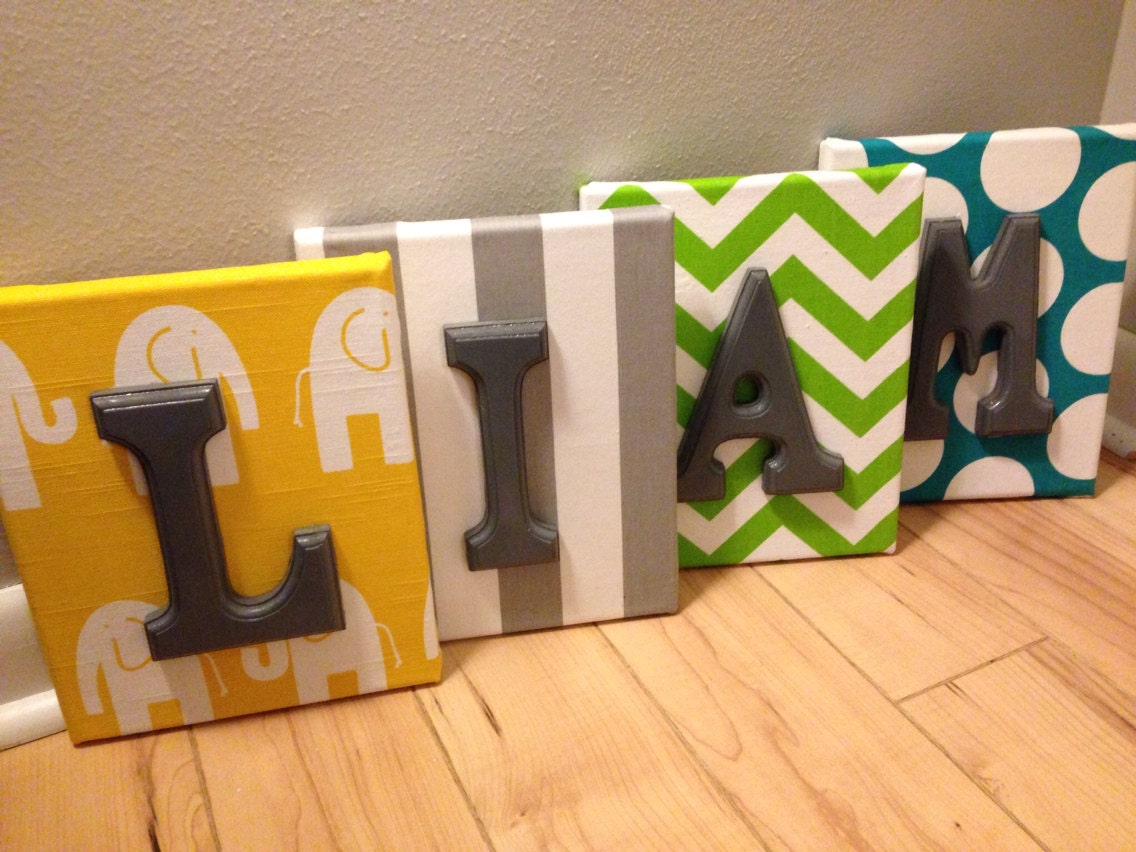 Boy Wall Canvas Letters Nursery Letters & Decor Personalized