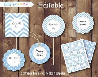 Chevron cupcake toppers, editable tags, digital labels  - Instant Download  221