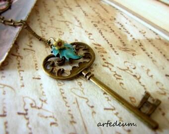 Skeleton Key necklace Antique Bronze vintage Pumpkin shaped green blue Leaf and Flower Valentines day gift for her nature inspired