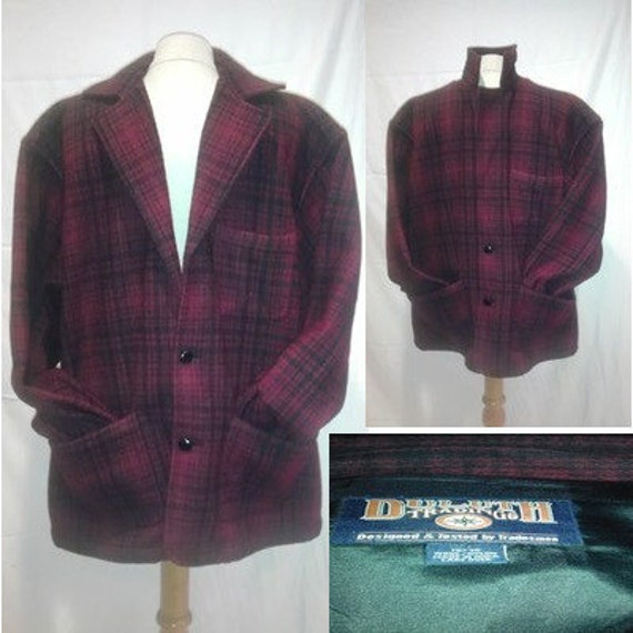 Vintage Plaid Shirt  Buffalo Jacket Coat Blazer Mens Large Duluth Trading Company Red Black Check Blend Flapjac Winter  lumberjack L pockets