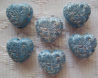 8  Delph Blue & Silver Etched Ornate Heart Acrylic Beads  16mm