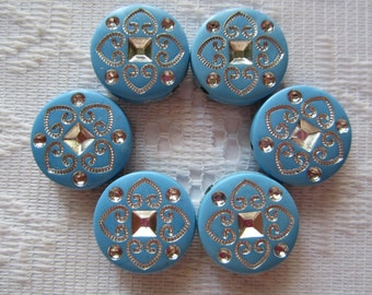 10  China Blue & Silver Etched Flat Round Coin Acrylic Beads  18mm