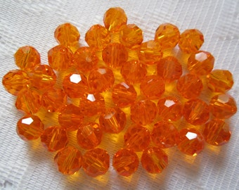 20  Halloween Pumpkin Orange Faceted Round Crystal Beads   8mm