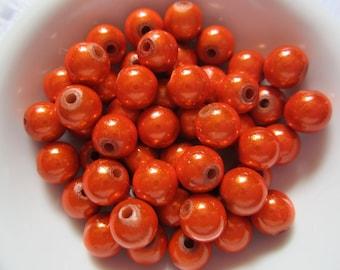 25  Halloween Pumpkin Orange Shiny Luster Miracle Wonder Acrylic Beads  8mm