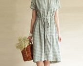 Short Sleeve Grid Cotton Linen Tunic Dress