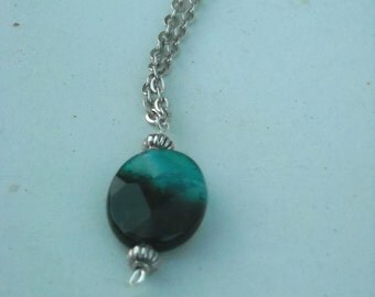 Black-Banded Green Agate Necklace