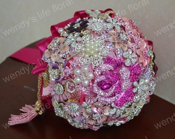 wedding brooch bouquet pink