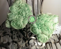 Mint green headband, green rosette hairbow headband, green headband, green hair accessory, girls headband, soft headband