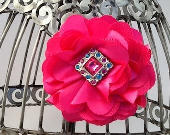 Hot pink hair clip, hot pink hair flower, pink flower hair clip hair accessory, flower hair accessory, girls hair clip, pink hair clip