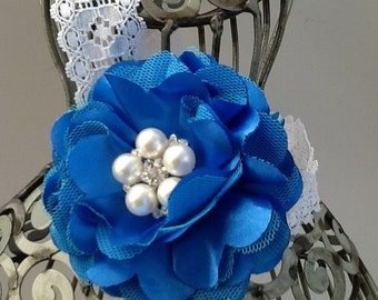 Royal blue headband, blue flower headband, girls headband, flower headband, baby headband, hair flower blue hair accessory