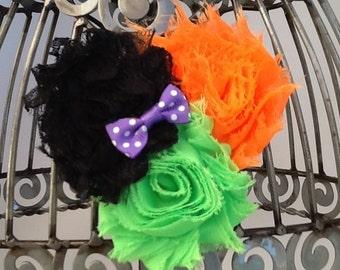Halloween hair clip. black and orange hair accessory Halloween hair accessories, shabby flower hair clips