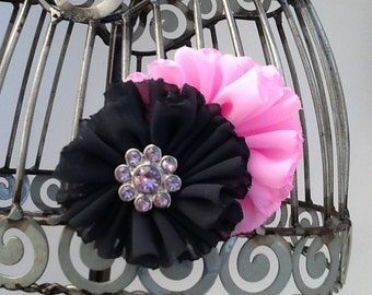 Light pink and charcoal hair clip, gray and pink hair accessory, girls flower hair clip, hair flower hair accessory, pink hair clip