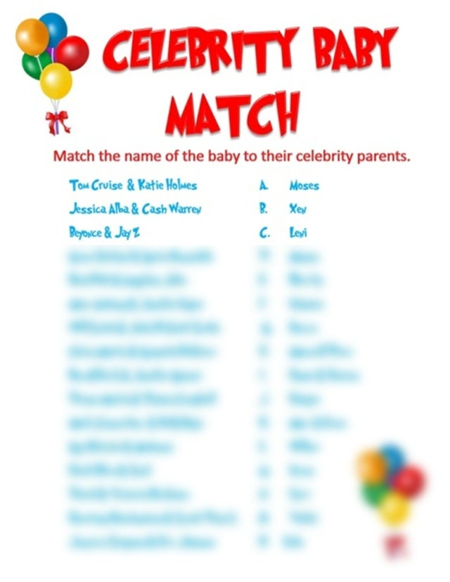 celebrity baby match baby shower game by allthingsparty on etsy