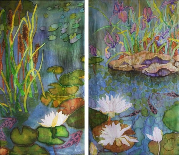 Painting on silk koi garden diptych wall hanging by artbylora for Koi wall hanging