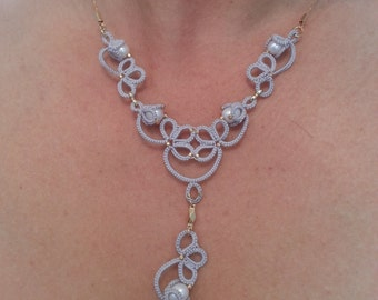 Tatted set with fresh water pearls