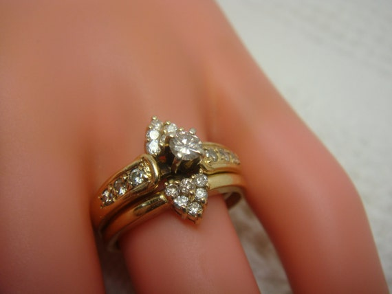 vintage 14k and diamond nesting wedding ring set With nesting wedding rings
