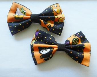 Halloween Hello Kitty Fabric Hair Bow Clip Barrette