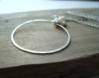 Moon Necklace White Pearl Hoop Necklace Sterling Silver Metalworked Minimalist Pearl Jewelry Modern Bridal June Birthstone Artisan Made