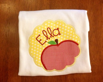 Back to school-Scallop Apple for Back to School-apple applique-Girl back to school-girl ruffle shirt